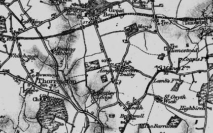 Old map of Aingers Green in 1896