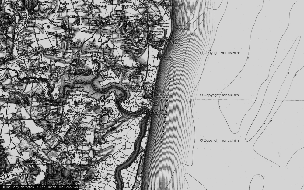 Old Map of Historic Map covering Aldeburgh Bay in 1898