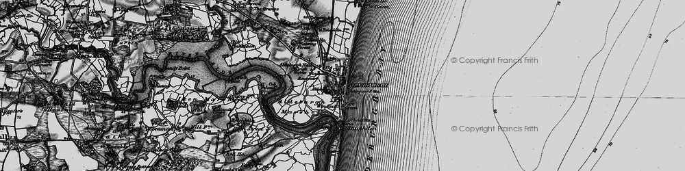 Old map of Aldeburgh Marshes in 1898