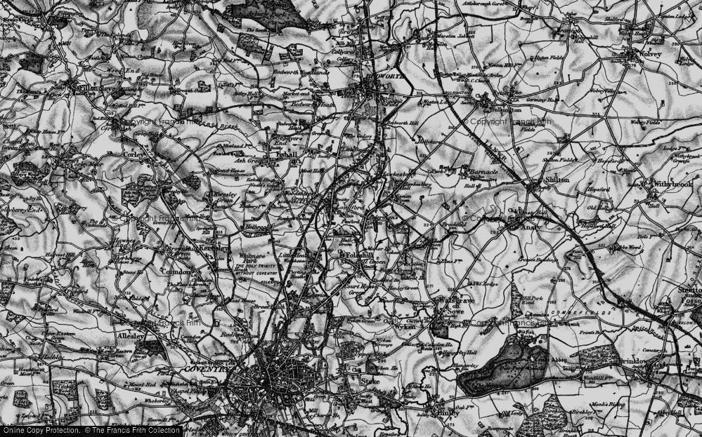 Old Map of Alderman's Green, 1899 in 1899