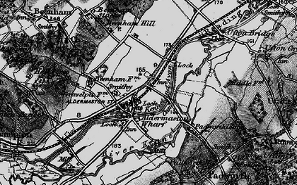 Old map of Aldermaston Wharf in 1895