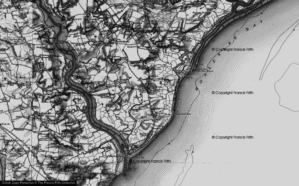 Old Map of Alderton, 1895 in 1895