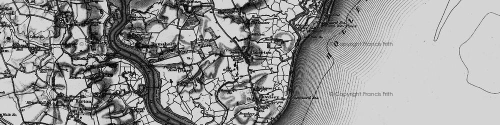 Old map of Alderton in 1895