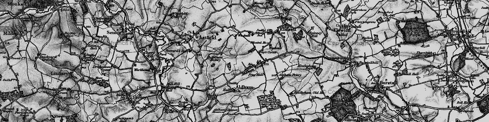 Old map of Aldham in 1896