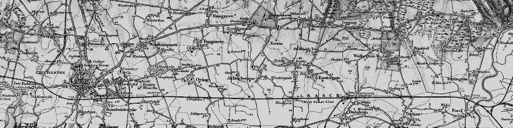 Old map of Aldingbourne in 1895