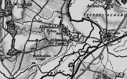 Old map of Aldwincle in 1898