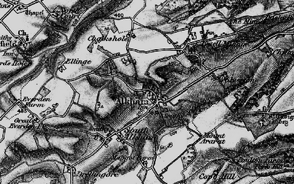 Old map of Alkham in 1895