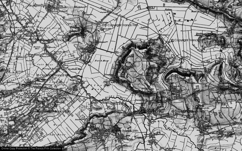 Old Map of Historic Map covering Aller Wood in 1898