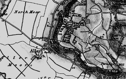 Old map of Aller in 1898