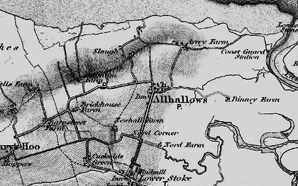 Old map of Allhallows Marshes in 1896
