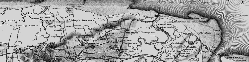 Old map of Allhallows in 1896