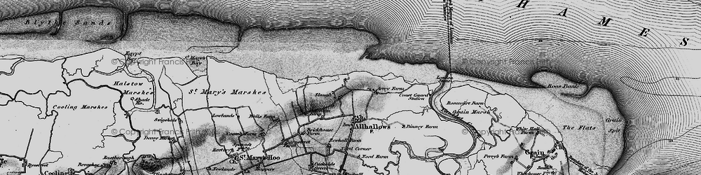 Old map of Allhallows-on-Sea in 1896