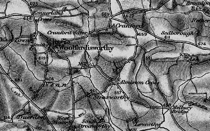 Old map of Alminstone Cross in 1895