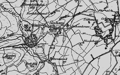 Old map of Alnham Ho in 1897