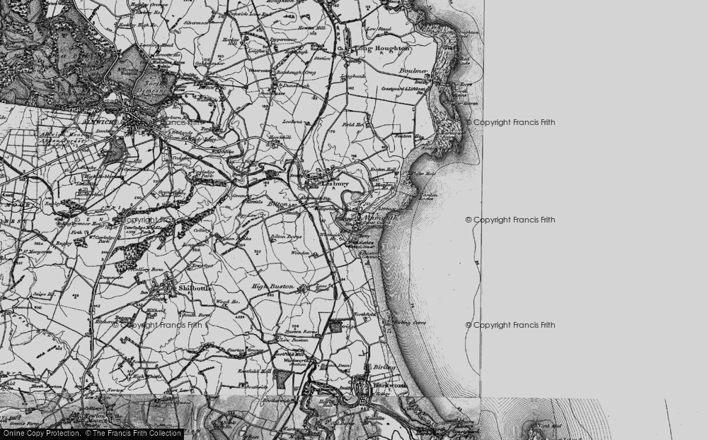 Old Map of Alnmouth, 1897 in 1897