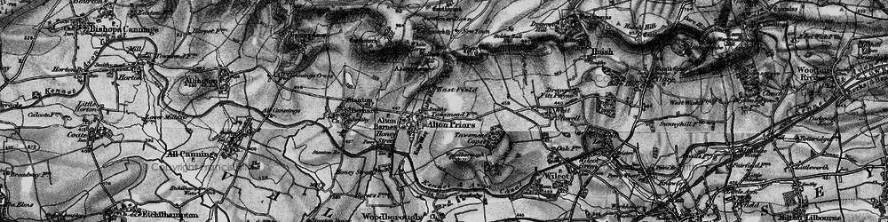 Old map of Adam's Grave (Long Barrow) in 1898