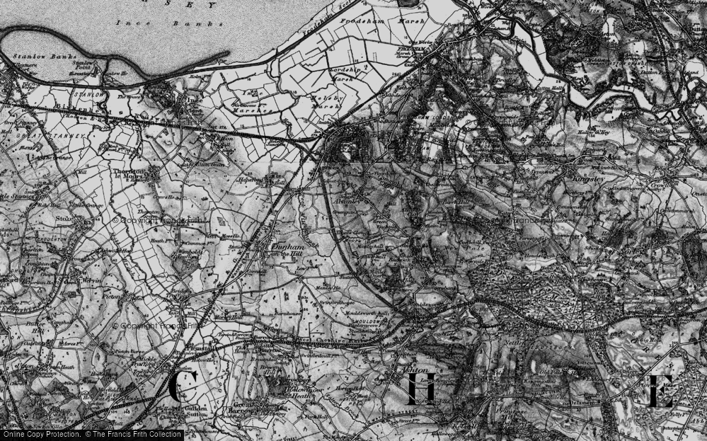 Old Map of Historic Map covering Alvanley Cliff in 1896