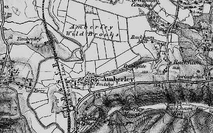 Old map of Amberley Wild Brooks in 1895