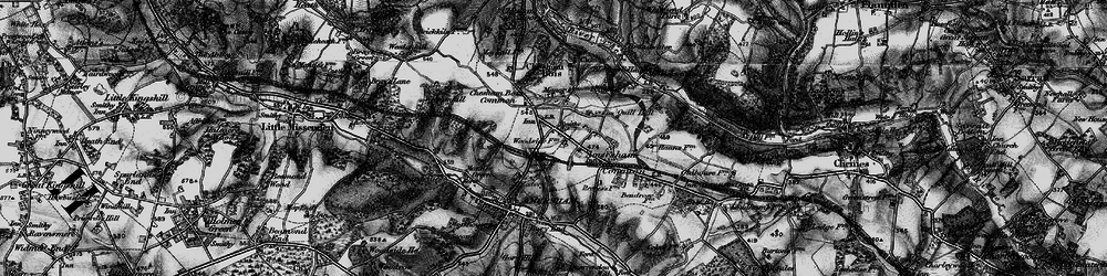 Old map of Amersham on the Hill in 1896