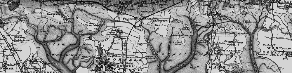 Old map of Langstone Harbour in 1895