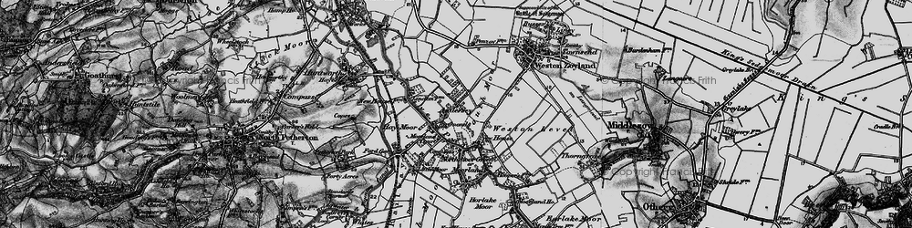 Old map of Weston Level in 1898