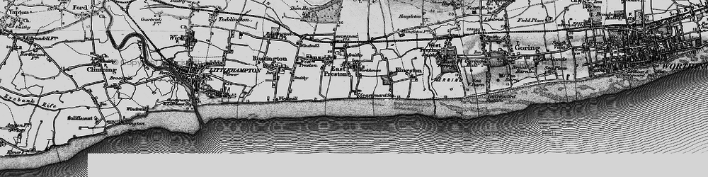 Old map of Angmering-on-Sea in 1895