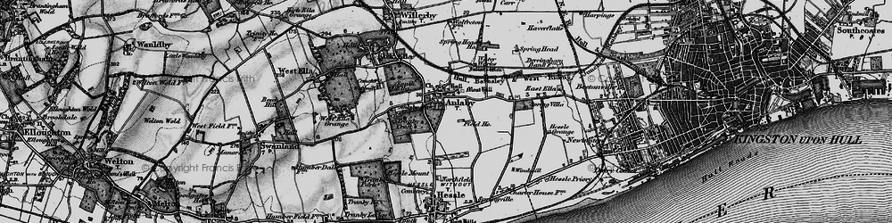 Old map of Anlaby in 1895