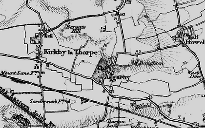 Old map of Asgarby in 1898