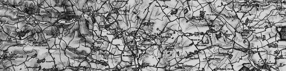 Old map of Whatfield Hall in 1896