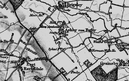 Old map of Ashby cum Fenby in 1899