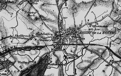 Old map of Ashby-de-la-Zouch in 1895