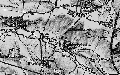 Old map of Ashby Folville in 1899