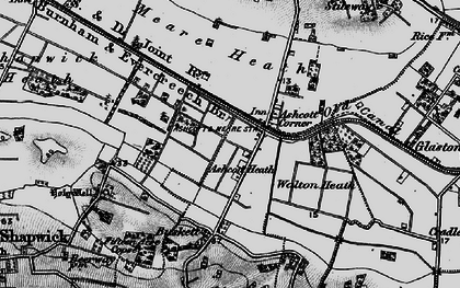 Old map of Ashcott Corner in 1898