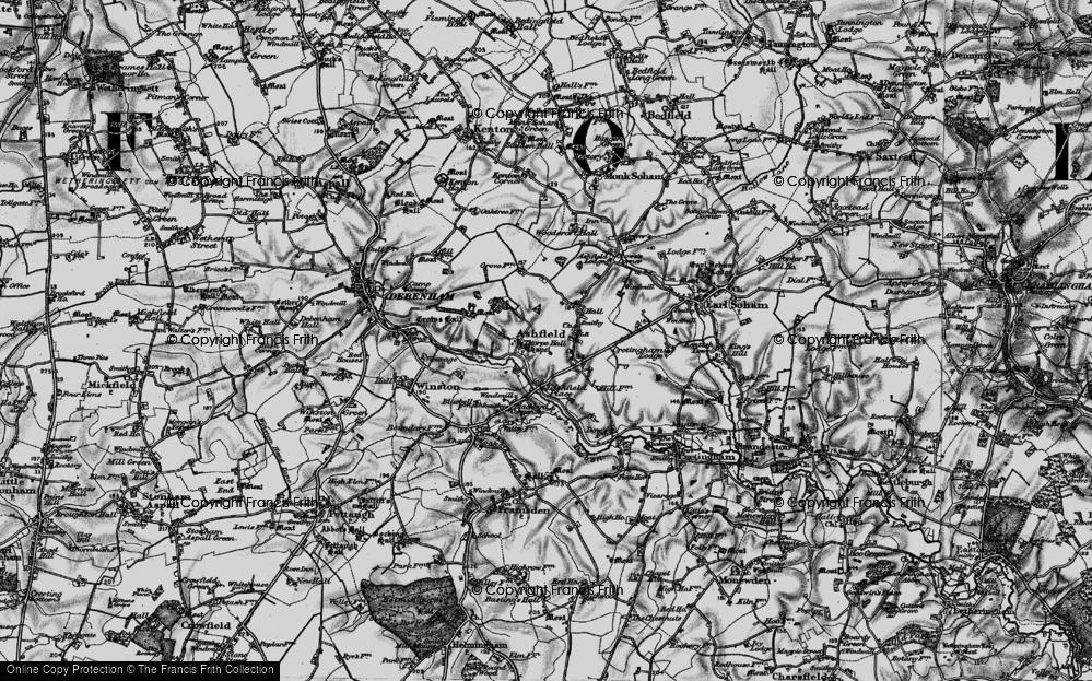 Old Map of Ashfield Cum Thorpe, 1898 in 1898