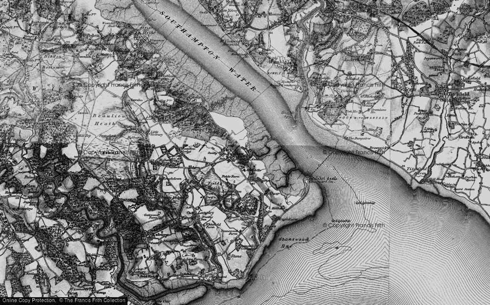 Old Map of Historic Map covering Ashlett Creek in 1895
