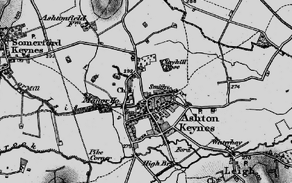Old map of Ashton Keynes in 1896