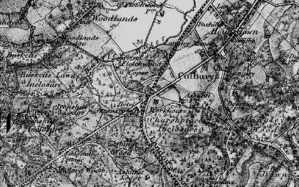 Old map of Ashurst Lodge in 1895