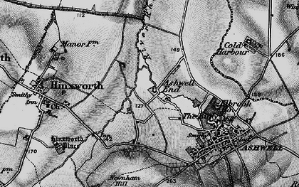 Old map of Ashwell End in 1896