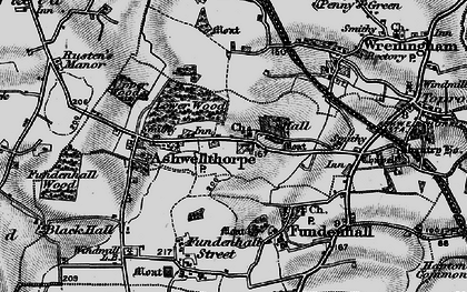 Old map of Ashwellthorpe in 1898