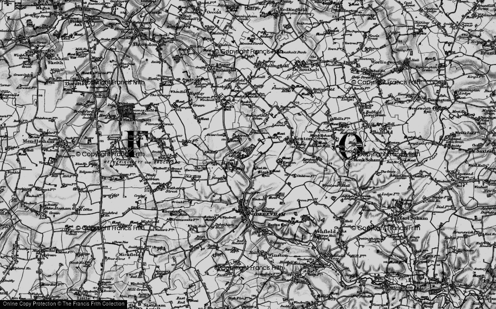 Old Map of Historic Map covering Aspall Wood in 1898