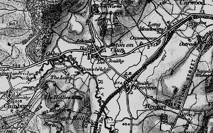 Old map of Aston on Clun in 1899