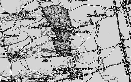 Old map of Aswarby in 1895