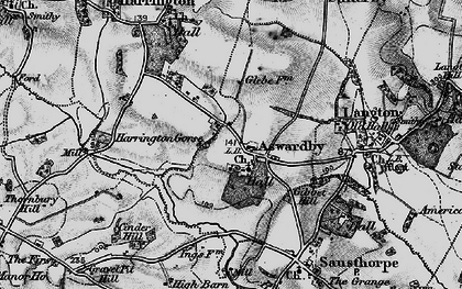 Old map of Aswardby Mill in 1899