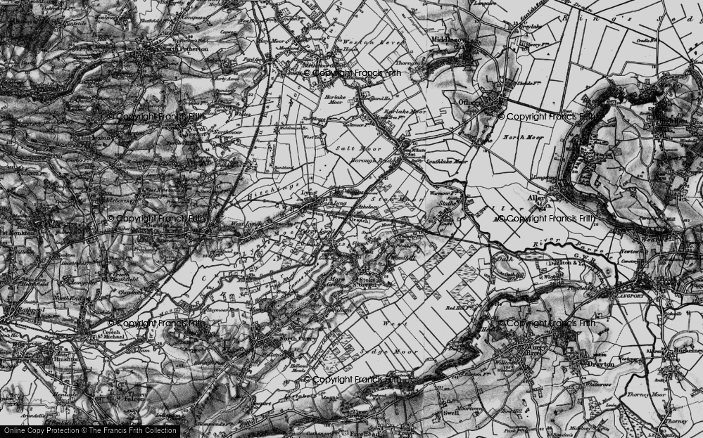 Old Map of Historic Map covering Athelney Hill in 1898