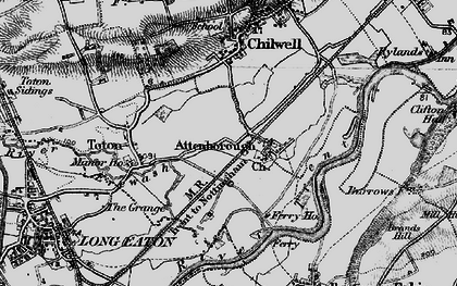 Old map of Attenborough in 1899