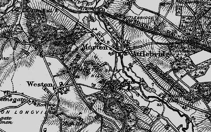 Old map of Attlebridge Hills in 1898