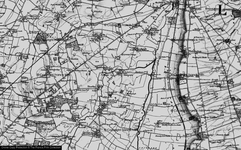 Old Map of Aubourn, 1899 in 1899