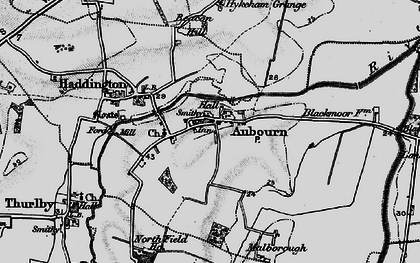 Old map of Aubourn in 1899