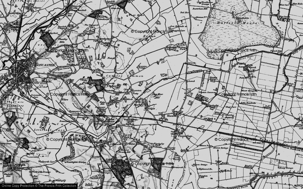 Old Map of Historic Map covering Auckley Common in 1895
