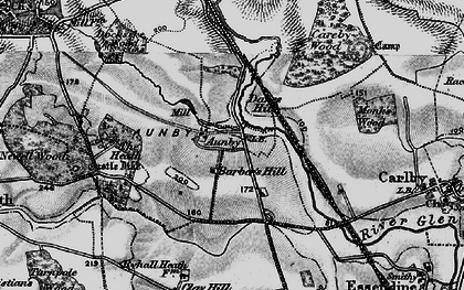 Old map of Aunby in 1895